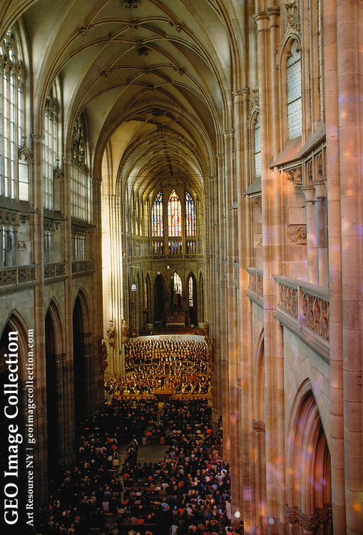 Interior of St. Vitus' Cathedral in Prague during a Sunday concert.