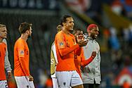 Netherlands Defender Virgil van Dijk (Liverpool) celebrates at full time during the UEFA Nations League semi-final match between Netherlands and England at Estadio D. Afonso Henriques, Guimaraes, Portugal on 6 June 2019.
