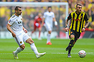 Wolverhampton Wanderers defender Jonny (19) and Watford defender Miguel Angel Britos (3)during the The FA Cup semi-final match between Watford and Wolverhampton Wanderers at Wembley Stadium, London, England on 7 April 2019.