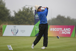 Great Britain's Georgia Hall tees off at the 17th hole during her semi final match this morning with Sweden during day eleven of the 2018 European Championships at Gleneagles PGA Centenary Course. PRESS ASSOCIATION Photo. Picture date: Sunday August 12, 2018. See PA story GOLF European. Photo credit should read: Kenny Smith/PA Wire. RESTRICTIONS: Editorial use only, no commercial use without prior permission