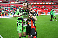Forest Green Rovers Sam Wedgbury(8) and FGR team helper Noah during the Vanarama National League Play Off Final match between Tranmere Rovers and Forest Green Rovers at Wembley Stadium, London, England on 14 May 2017. Photo by Shane Healey.