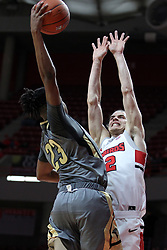 NORMAL, IL - November 24:  Matt Chastain averts a jam by Diego Womack during a college basketball game between the ISU Redbirds  and the Lindenwood Lions on November 24 2018 at Redbird Arena in Normal, IL. (Photo by Alan Look)