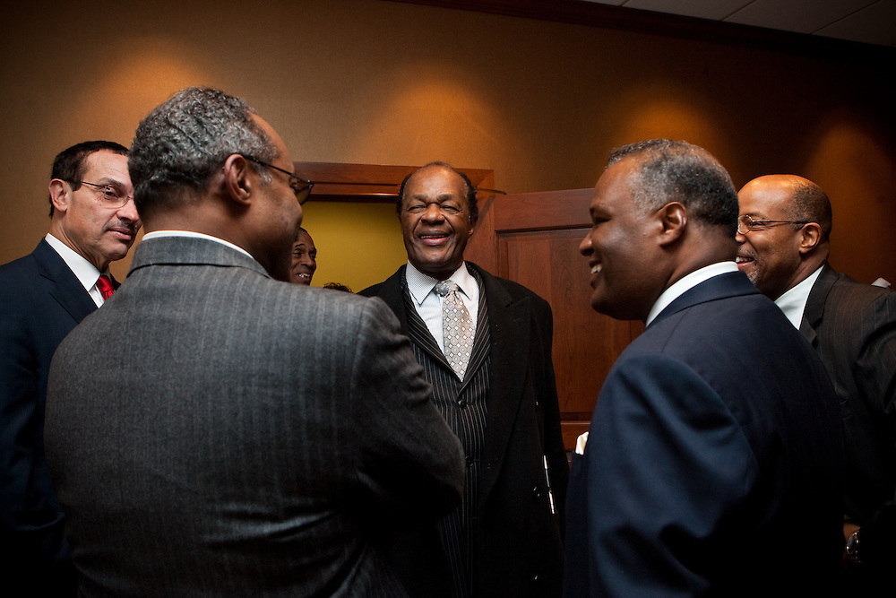 UPPER MARLBORO, MD - DECEMBER 6: Prince George's County Executive-Elect Rushern Baker III (second from right) talks with Washington D.C. Councilmember Marion Barry (center) former Prince George's County Executive Wayne Curry (second from left) and Washington D.C. Mayor-Elect Vincent Gray (left) after inauguration ceremonies at Prince George's County Administration Building on December 6, 2010 in Upper Marlboro, Maryland. (Photo by Michael Starghill, Jr.)