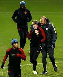 Kevin De Bruyne of Manchester City shares a joke with a coach - Mandatory by-line: Matt McNulty/JMP - 20/02/2017 - FOOTBALL - City Football Academy - Manchester, England - Manchester City v AS Monaco - UEFA Champions League Round of 16 First Leg