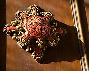 Village parish church Parham, Suffolk, England, UK detail of carved wooden decoration