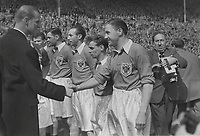 Football - 1953 FA Cup Final - Blackpool 4 Bolton Wanderers 3<br /> <br /> Stan Mortensen is introduced to HRH Prince Philip, Duke of Edinburgh, before kick-off at Wembley.<br /> Mortensen had a metal plate inserted into his head,after injuries received while serving in the RAF during the Second World War<br /> <br /> 02/05/1953