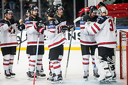Alex Killorn of Canada and Calvin Pickard of Canada celebrate after the 2017 IIHF Men's World Championship group B Ice hockey match between National Teams of Belarus and Canada, on May 8, 2017 in Accorhotels Arena in Paris, France. Photo by Vid Ponikvar / Sportida