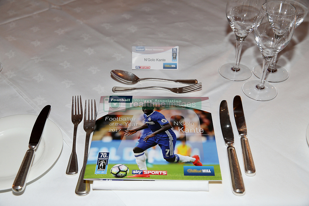 The evening's brochure featuring Chelsea's N'Golo Kante ahead of the FWA Footballer of the Year Dinner at The Landmark Hotel, London. PRESS ASSOCIATION Photo. Picture date: Thursday May 18, 2017. Photo credit should read: Steven Paston/PA Wire.