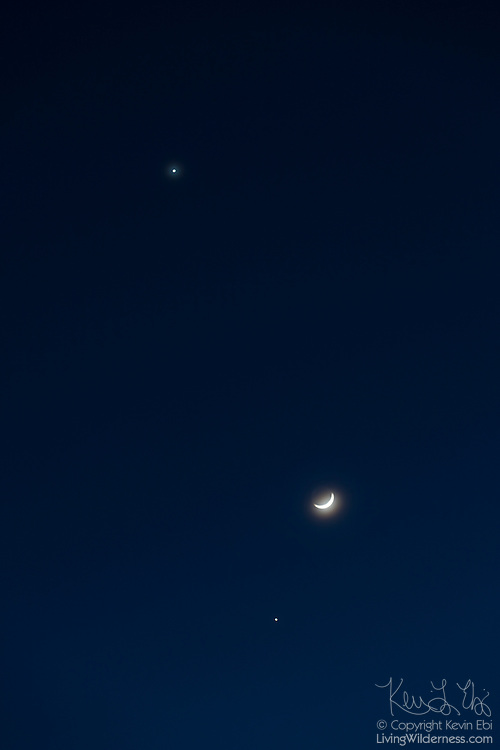 The crescent moon forms a triangle with the planets Venus (top) and Jupiter (below) on March 25, 2012. Photographed from Ephrata, Washington, Venus, Jupiter and the moon are found in this configuration only about once every 24 years.