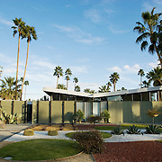 Palm Springs, CA is known for its mid-century modern architecture and examples of it are found throughout the city's neighborhoods. This private residence was designed by architects Dan Palmer and William Krisel, who also did the landscape design.  .