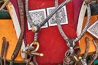 Mongolie, Arkhangai, selle et harnachement de cheval avec les décorations en argent// Mongolia, Arkhangai saddle and harness for the horse