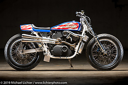 Evel XG, a supercharged Harley-Davidson Street 750 Evel Knievel tribute bike by Colin Cornberg of Number 8 Wire Motorcycles in Philipsburg, MT. The Handbuilt Show. Austin, Texas USA. Friday, April 12, 2019. Photography ©2019 Michael Lichter.