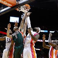 22 January 2012: Milwaukee Bucks point guard Shaun Livingston (9) vies for the rebound with Miami Heat small forward LeBron James (6) and Miami Heat small forward James Jones (22) during the Milwaukee Bucks 91-82 victory over the Miami Heat at the AmericanAirlines Arena, Miami, Florida, USA.