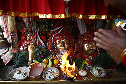 May 4, 2017 - Lalitpur, Nepal - A devotee offer prayers to the idol of Goddess Mahalaxmi during Khat festival in Lalitpur, Nepal on Thursday, May 04, 2017. (Credit Image: © Skanda Gautam via ZUMA Wire)