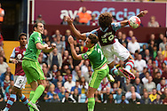 Aston Villa's Rudy Gestede (39) is fouled in the penalty area by Billy Jones of Sunderland (2) but no penalty is given . Barclays Premier League match, Aston Villa v Sunderland at Villa Park in Birmingham, Midlands on Saturday 29th August  2015.<br /> pic by Andrew Orchard, Andrew Orchard sports photography.