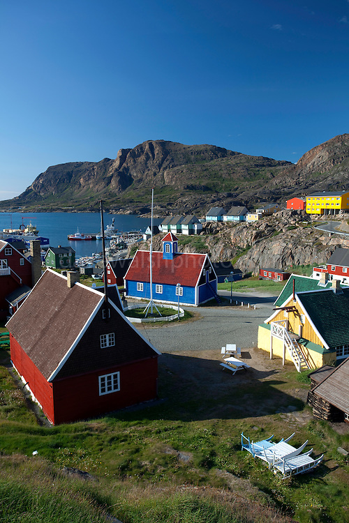 Buildings in Sisimiut, the second largest town in Greenland.  In the centre of the picture is the Bethel Church, built in 1775
