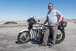 Vinnie Grasser of Florida with his 1916 Harley-Davidson during the Motorcycle Cannonball Race of the Century. Stage-14 ride from Lake Havasu CIty, AZ to Palm Desert, CA. USA. Saturday September 24, 2016. Photography ©2016 Michael Lichter.