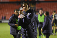 AFC Wimbledon defender Toby Sibbick (20) applauds the fans during the EFL Sky Bet League 1 match between Walsall and AFC Wimbledon at the Banks's Stadium, Walsall, England on 12 February 2019.