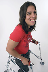 Young woman with Cerebral Palsy smiling,