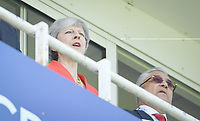 Cricket - 2019 ICC Cricket World Cup - Group Stage: England vs. South Africa<br /> <br /> Prime Minister Theresa May singing the National Anthem, at The Kia Oval.<br /> <br /> COLORSPORT/ASHLEY WESTERN