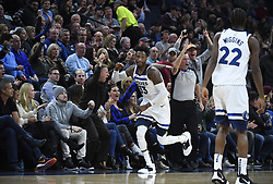 November 14, 2018 - Minneapolis, MN, USA - The Minnesota Timberwolves' Robert Covington (33) high-fives fans after hitting a 3-pointer in the second half against the New Orleans Pelicans on Wednesday, Nov. 14, 2018, at Target Center in Minneapolis. The Timberwolves won, 107-100. (Credit Image: © Aaron Lavinsky/Minneapolis Star Tribune/TNS via ZUMA Wire)