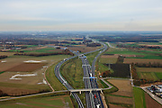 Nederland, Limburg, Gemeente Maasbracht, 15-11-2010; Knooppunt Het Vonderen,  splitsing A2 (naar links) en A73, gezien in noordelijke richting. Junction Het Vonderen...luchtfoto (toeslag), aerial photo (additional fee required).copyright foto/photo Siebe Swart