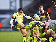 Sale player James Mitchell clears the ball in the first half during the Aviva Premiership match between Harlequins and Sale Sharks at Twickenham Stoop, Twickenham, United Kingdom on 7 January 2017. Photo by Ian  Muir.during the Aviva Premiership match between Harlequins and Sale Sharks at Twickenham Stoop, Twickenham, United Kingdom on 7 January 2017. Photo by Ian  Muir.