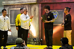 Kaichiroh Kross Kurosu gets the Best Chopper award from Mooneyes' Shige Suganuma at the 27th Annual Mooneyes Yokohama Hot Rod Custom Show 2018. Yokohama, Japan. Sunday, December 2, 2018. Photography ©2018 Michael Lichter.