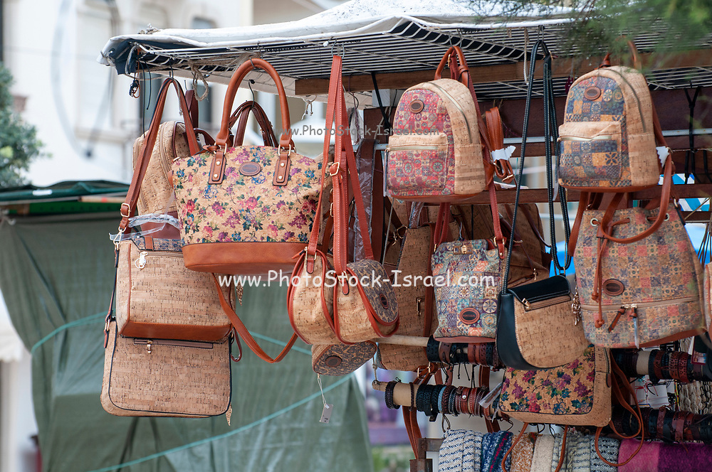 Portuguese souvenirs on sale at a souvenir stall in Nazare, Portugal