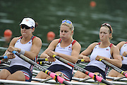 Lucerne SWITZERLAND,  USA W4X. Bow Stesha CARLE, Megan KALMOE, Esther LOFGREN and Natalie DELL, at the   2011 FISA World Cup on the Lake Rotsee.  15:12:21  Saturday   09/07/2011   [Mandatory Credit Peter Spurrier/ Intersport Images]
