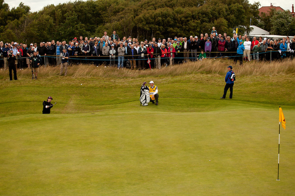 LYTHAM ST. ANNES, ENGLAND - JULY 19:  Bubba Watson plays a bunker shot during the first round of the 141st Open Championship at Royal Lytham St Annes Golf Club in in Lytham St. Annes, England on July 19, 2012. (Photograph ©2012 Darren Carroll) *** Local Caption *** Bubba Watson