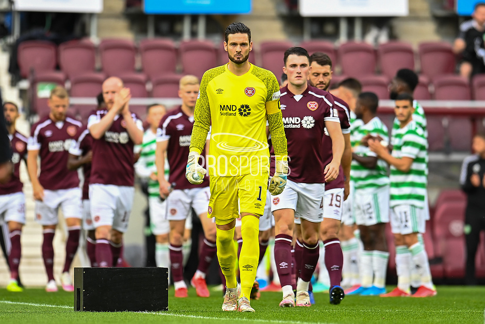 Goalkeeper Craig Gordon (#1) of Heart of Midlothian FC leads his team onto the field before the Cinch SPFL Premiership match between Heart of Midlothian FC and Celtic FC at Tynecastle Park, Edinburgh, Scotland on 31 July 2021.
