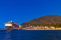 "Cruise ships Carnival Spririt and Holland America ""Amsterdam"" docked in Ketchikan, Southeast Alaska USA"