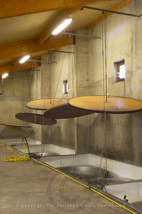 Domaine de Canet-Valette Cessenon-sur-Orb St Chinian. Languedoc. Stainless steel fermentation and storage tanks. Floating top vats. France. Europe.
