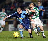 Fotball<br /> Coca Cola League Two 2004/2005<br /> 06.11.2004<br /> Foto: SBI/Digitalsport<br /> NORWAY ONLY<br /> <br /> Wycombe Wanderers v Yeovil Town<br /> <br /> Wycombe's Adam Birchall and Yeovil's Lee Johnson battle it out for the ball.