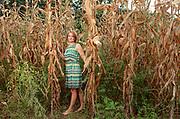 Italy, Capannori, Martina has a cornfiled in her garden