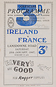 Rugby 1947-25/01 Five Nations Ireland Vs France