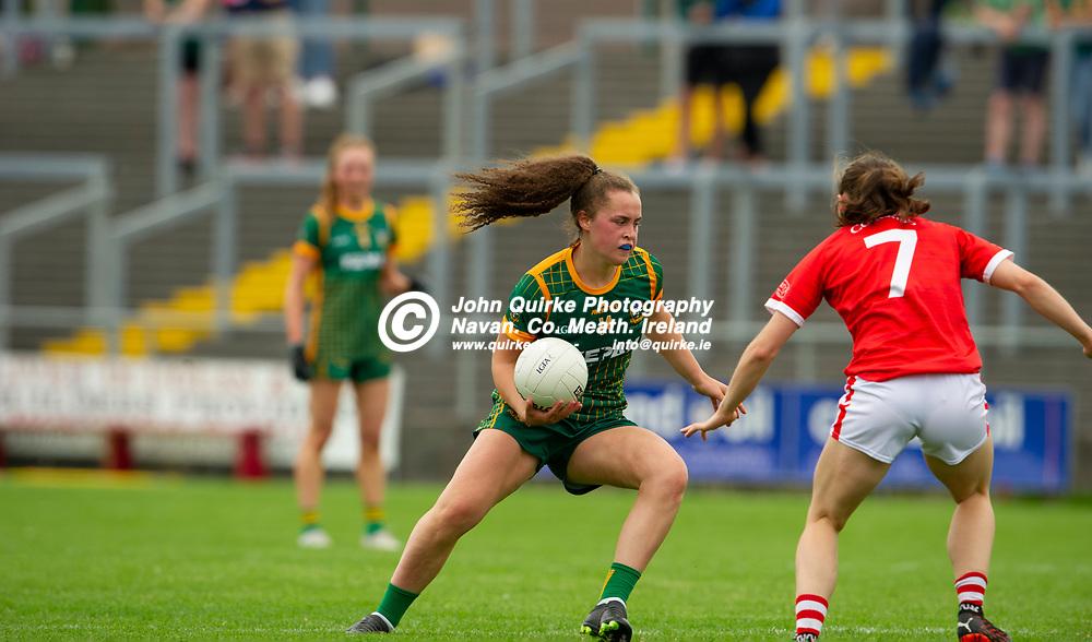 10-07-21. Meath v Cork - LGFA All-Ireland Senior Championship - Group 3 Round 1 at St. Brendan's Park, Birr.<br /> Emma Duggan, Meath in action against Melissa Duggan, Cork.<br /> Photo: John Quirke / www.quirke.ie<br /> ©John Quirke Photography, 16 Proudstown Road, Navan. Co. Meath. (info@quirke.ie / 046-9028461 / 087-2579454).