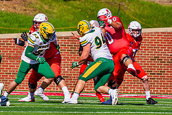 NORMAL, IL - October 16: Drew Bones fills a gap during a college football game between the NDSU (North Dakota State) Bison and the ISU (Illinois State University) Redbirds on October 16 2021 at Hancock Stadium in Normal, IL. (Photo by Alan Look)