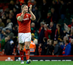 Hadleigh Parkes of Wales applauds the fans<br /> <br /> Photographer Simon King/Replay Images<br /> <br /> Under Armour Series - Wales v South Africa - Saturday 24th November 2018 - Principality Stadium - Cardiff<br /> <br /> World Copyright © Replay Images . All rights reserved. info@replayimages.co.uk - http://replayimages.co.uk