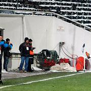 Mersin idman Yurdu's Tonia D.Tisdell (R) during their Turkish superleague soccer match Besiktas between Mersin idman Yurdu at BJK Inonu Stadium in Istanbul Turkey on Thursday, 02 February 2012. Photo by TURKPIX