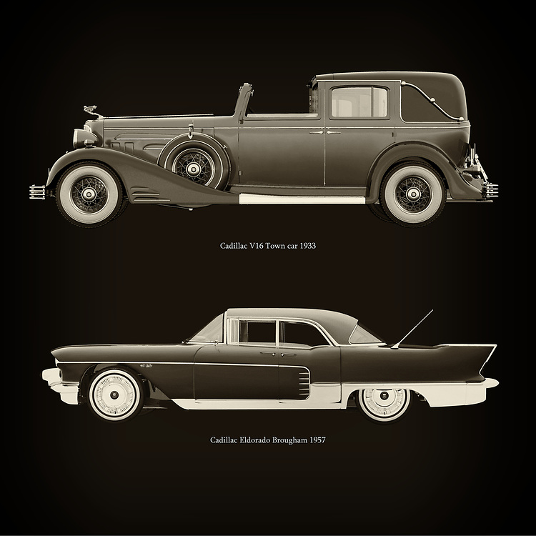 For the lover of old classic cars, this combination of a Cadillac V16 Town car 1933 and Cadillac Eldorado Brougham 1957 is truly a beautiful work to have in your home.<br /> The classic Cadillac V16 Town car  and the beautiful Cadillac Eldorado Brougham are among the most beautiful cars ever built.<br /> You can have this work printed in various materials and without loss of quality in all formats.<br /> For the oldtimer enthusiast, the series by the artist Jan Keteleer is a dream come true. The artist has made a fine selection of the very finest cars which he has meticulously painted down to the smallest detail. – –<br /> -<br /> <br /> BUY THIS PRINT AT<br /> <br /> FINE ART AMERICA<br /> ENGLISH<br /> https://janke.pixels.com/featured/cadillac-v16-town-car-1933-and-cadillac-eldorado-brougham-1957-jan-keteleer.html<br /> <br /> WADM / OH MY PRINTS<br /> DUTCH / FRENCH / GERMAN<br /> https://www.werkaandemuur.nl/nl/shopwerk/Cadillac-V16-Town-car-1933-en-Cadillac-Eldorado-Brougham-1957/757031/132?mediumId=1&size=60x60<br /> –