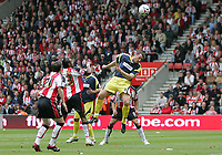 Photo: Lee Earle.<br /> Southampton v Derby County. Coca Cola Championship. Play Off Semi Final, 1st Leg. 12/05/2007.Derby's Steve Howard (R) heads home their first half equaliser.