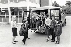 Minibus at Elliott Durham Secondary school, Nottingham, UK. 1988. The school is now part of Nottingham Academy