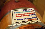 Colour chart over the organisation. Oak barrel aging and fermentation cellar. Chateau Sansonnet, Saint Emilion, Bordeaux, France