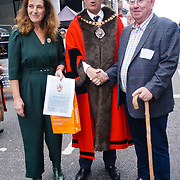 Lord Mayor Alderman William Russell attended the annually Sheep Drive over the River Thames 2021 at Southwark bridge, London, UK. on 25th September 2021.