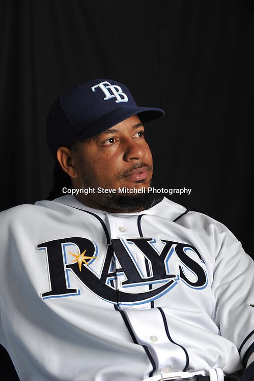 Feb 22, 2011; Port Charlotte, FL, USA; Tampa Bay Rays left fielder Manny Ramirez (24) during photo day at Charlotte Sports Park. Mandatory Credit: Steve Mitchell