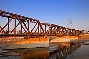 Train trestle bridge over Los Angeles River, South Gate, Los Angeles County, California, USA