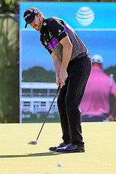 May 18, 2018 - Dallas, TX, U.S. - DALLAS, TX - MAY 18:  Jimmy Walker of the United States sinks his birdie putt on #17 during the second round of the 50th anniversary AT&T Byron Nelson on May 18, 2018 at Trinity Forest Golf Club in Dallas, TX.  (Photo by Andrew Dieb/Icon Sportswire) (Credit Image: © Andrew Dieb/Icon SMI via ZUMA Press)