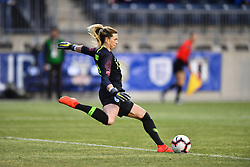 February 27, 2019 - Chester, PA, U.S. - CHESTER, PA - FEBRUARY 27: England Keeper Carly Telford (13) clears the ball in the second half during the She Believes Cup game between Brazil and England on February 27, 2019 at Talen Energy Stadium in Chester, PA. (Photo by Kyle Ross/Icon Sportswire) (Credit Image: © Kyle Ross/Icon SMI via ZUMA Press)